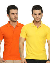 Lime Offers Combo of 2 Men's Polo T-Shirts, s, multicolor