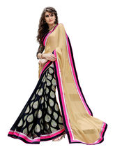 7 Colors Lifestyle Women's Chiffon Brasso Embroide Saree, beige and black