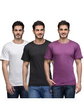 Urban Glory Pack of 3 Men's 100% Cotton Solid T-Shirt, xl, multicolor