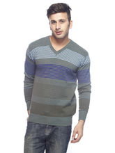 DS Striped Woolen V-Neck Regular Fit Sweater For Men (PL-SW-18), 44, green and blue