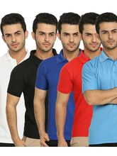 Lime Offers Combo of 5 Men's Polo T-Shirts, xxl, multicolor