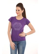 Ultrafit Women's Printed Fine Quality T-Shirts, s, purple