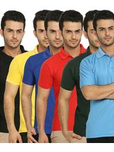Lime Offers Combo of 6 Men's Polo T-Shirts, s, multicolor