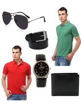 Lime Combo of 2 Men's Polo T-Shirt and Accessories, s, multicolor
