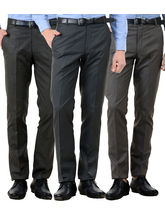 American-Elm Men's Cotton Formal Trousers- Pack of 3, 34, multicolor
