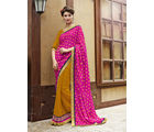 Indian Women Jacquard & Georgette Half and Half Party Wear Saree, pink