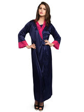 Clovia Long Night Robe Set For Women - NSM295P08, o, navy