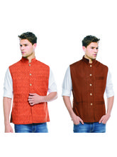 Sobre Estilo Orange & Brown Printed Reversible Jacket for Mens, m