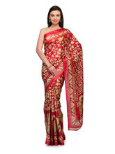 Studio Shubham Printed Art Silk Saree, maroon