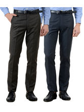 American-Elm Men's Cotton Formal Trousers- Pack of 2, 34, multicolor