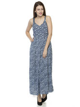 Oxolloxo Women's Floral Maxi Dress, blue, s