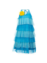 Lil Poppets Halter Frilly Dress for Girls, blue, 6