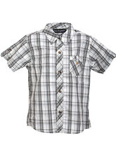 Lil Poppets Checkered Shirt with Straped Pocked for Boys, black n white, 9