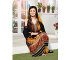 Fabliva Georgette & Satin Women's Unstitched Salwar Suit, yellow and black