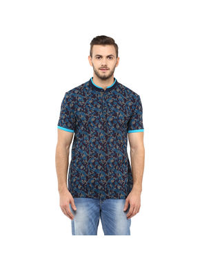 Printed Stand Collar T Shirt,  blue, s