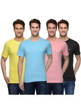 Urban Glory Raw Edge Round Neck Pack of 4 Men's T Shirts (UGTS-34353637), xxl, multicolor