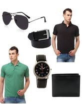 Lime Combo of 2 Men's Polo T-Shirt and Accessories, xl, multicolor