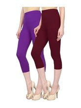 Civilized Showdown Cotton Lycra Capris-Pack Of 2, 34, purple