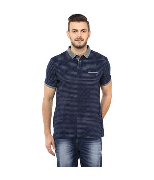 Printed Polo T Shirt, s,  navy