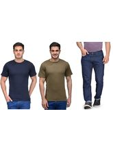 Rico Sordi Mens Blue Jeans with 2 Cotton T-shirts, 36, blue