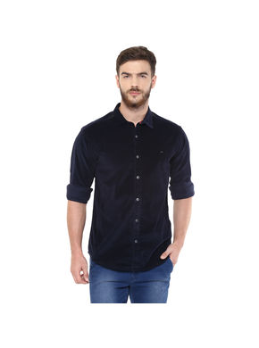 Solid Regular Slim Fit Shirt, s,  navy blue