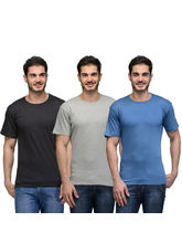 Urban Glory Pack of 3 Men's 100% Cotton Solid T-Shirt, multicolor, m