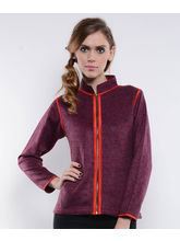 Lavennder Woollen Women's Jacket, xl, red and purple
