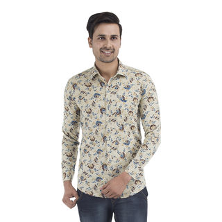 Strak Men's Cotton Printed Shirt, brown, m