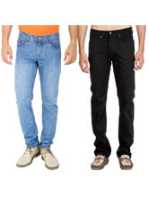 Stylox Set Of 2 Men's Denim Jeans, 28, dark blue black