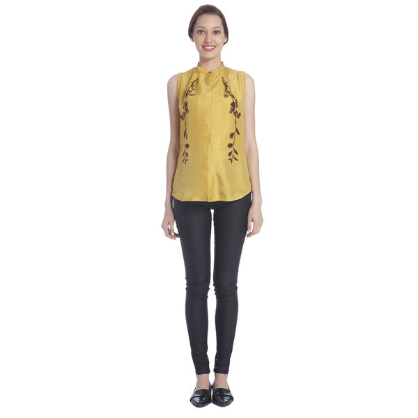 Sneha Arora Yellow Silk Printed Blouse, s