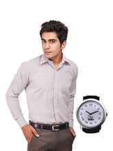 D&Y Exclusive combo of formal shirt and D&Y analog watch, 38, design4
