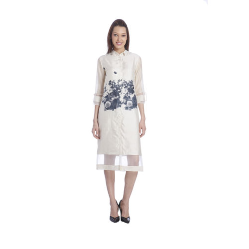 Sneha Arora Hanwoven Silk Printed Shirt Dress With Chanderi Sleeve, s