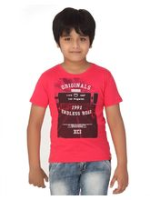 Rugby Round Neck Boys With Front Graphic Print 100% Cotton T-Shirt, 2, cherry