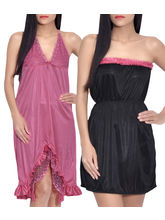 iHeart Women's Pack of 2 Satin Stylish Nighty, multicolor, free size