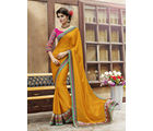 Indian Women Satin Chiffon Embroide Half and Half Designer Sarees, turmeric