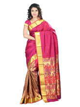 7 Colors Lifestyle Women's Pure Polyster Jacquard Embroide Saree, red and violet