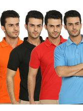 Lime Offers Combo of 4 Men's Polo T-Shirts, m, multicolor