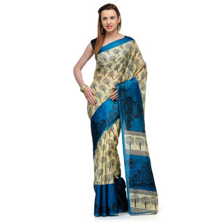 Studio Shubham Printed Art Silk Saree, blue