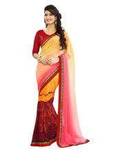 7 Colors Lifestyle Women's Faux Georgette Printed Saree, multicolor