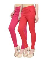 Civilized Showdown Lycra Jeggings-Pack Of 2, s, pink