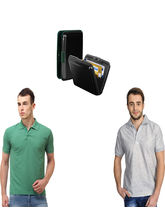 Lime offers Combo of Card Holder & 2 Polo T Shirt, l, black