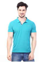 Rugby Men's Half Sleeves T-Shirt With Chest Embroidery, capriblue, xl