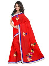 7 Colors Lifestyle Women's Super Net Embroide Saree, red