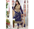 Fabliva Georgette & Satin Women's Unstitched Salwar Suit, cream and navy blue