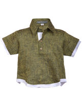 Lil Poppets Linen Sinker Shirt for Boys, green, 2
