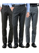 American-Elm Men's Cotton Formal Trousers- Pack of 3, 32, multicolor