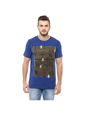 Printed Round Neck T Shirt,  royal blue, s