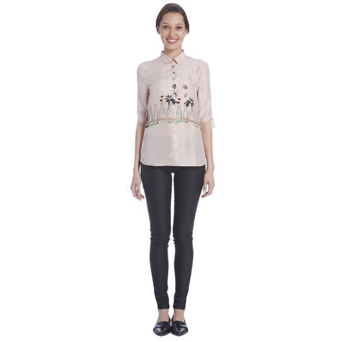 Sneha Arora Dirty Pink Coke Bottle Print Shirt, s