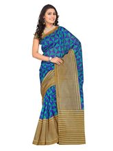 7 Colors Lifestyle Women's Bhagalpuri Embroide Saree, blue and beige