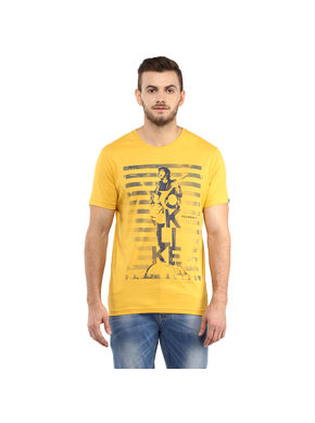 Printed Round Neck T-Shirt, xxl,  yellow
